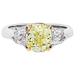 2 Carat Cushion Cut Diamond Fancy Yellow GIA with Side Bullets Engagement Ring