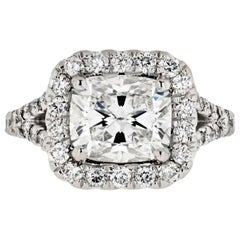 2 Carat Cushion Cut Diamond G/VS1 GIA Halo Set Split Shank Engagement Ring