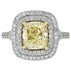 2 Carat Cushion Cut Fancy Yellow Diamond Double Halo GIA Engagement Ring