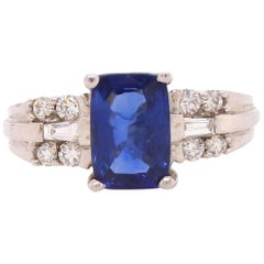 2 Carat Cushion Cut Sapphire and Diamond Ring