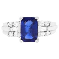 2 Carat Cushion Cut Blue Sapphire and Diamond Engagement Ring