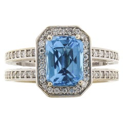 2 Carat Cushion Cut Topaz and Diamond Cocktail Ring in 18 Karat White Gold