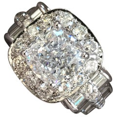 2 Carat Cushion with Round Halo, Baguettes in Shank, Ben Dannie