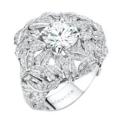 2 Carat D-Color GIA Certified Diamond 18k White Gold Ring on 400 Diamond Dome