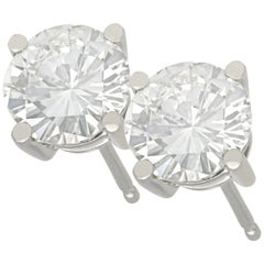 2 Carat Diamond and Platinum Stud Earrings