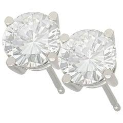 2 Carat Diamond and Platinum Stud Earrings
