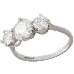 2 Carat Diamond and Platinum Trilogy Ring Circa 1940