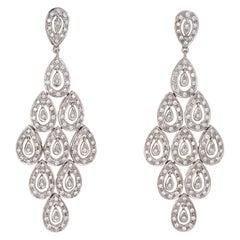 2 Carat Diamond Chandelier Earrings Estate 14 Karat Gold Drops Fine Jewelry
