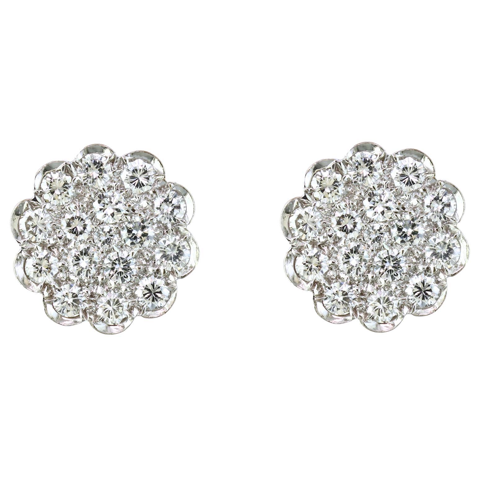 2 Carat Diamond Floral Cluster Flower Stud Earrings in 14 Karat White Gold