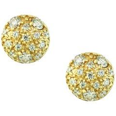 2 Carat Diamond Floral Cluster Flower Stud Earrings in 14 Karat Yellow Gold