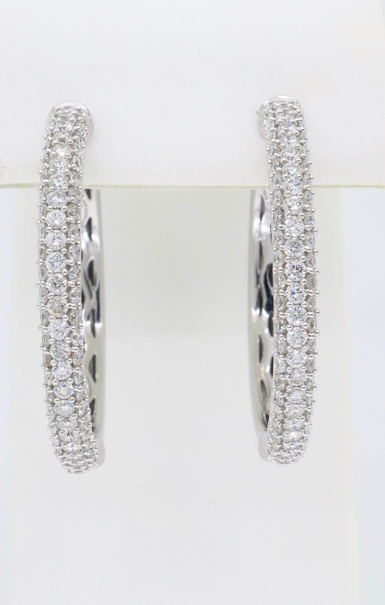 2 Carat Diamond Hoop Earrings In Excellent Condition In Webster, NY