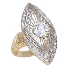 2 Carat Diamond Russian Platinum Yellow Gold Ring, 1900