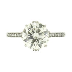 2 Carat Diamond Solitaire Engagement Ring Fleur Des Lis Art Deco Style Platinum