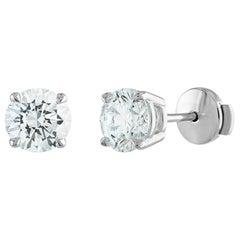2 Carat Diamond Stud Earrings, 14 Karat White Gold, GIA Certified, 3EX Diamonds