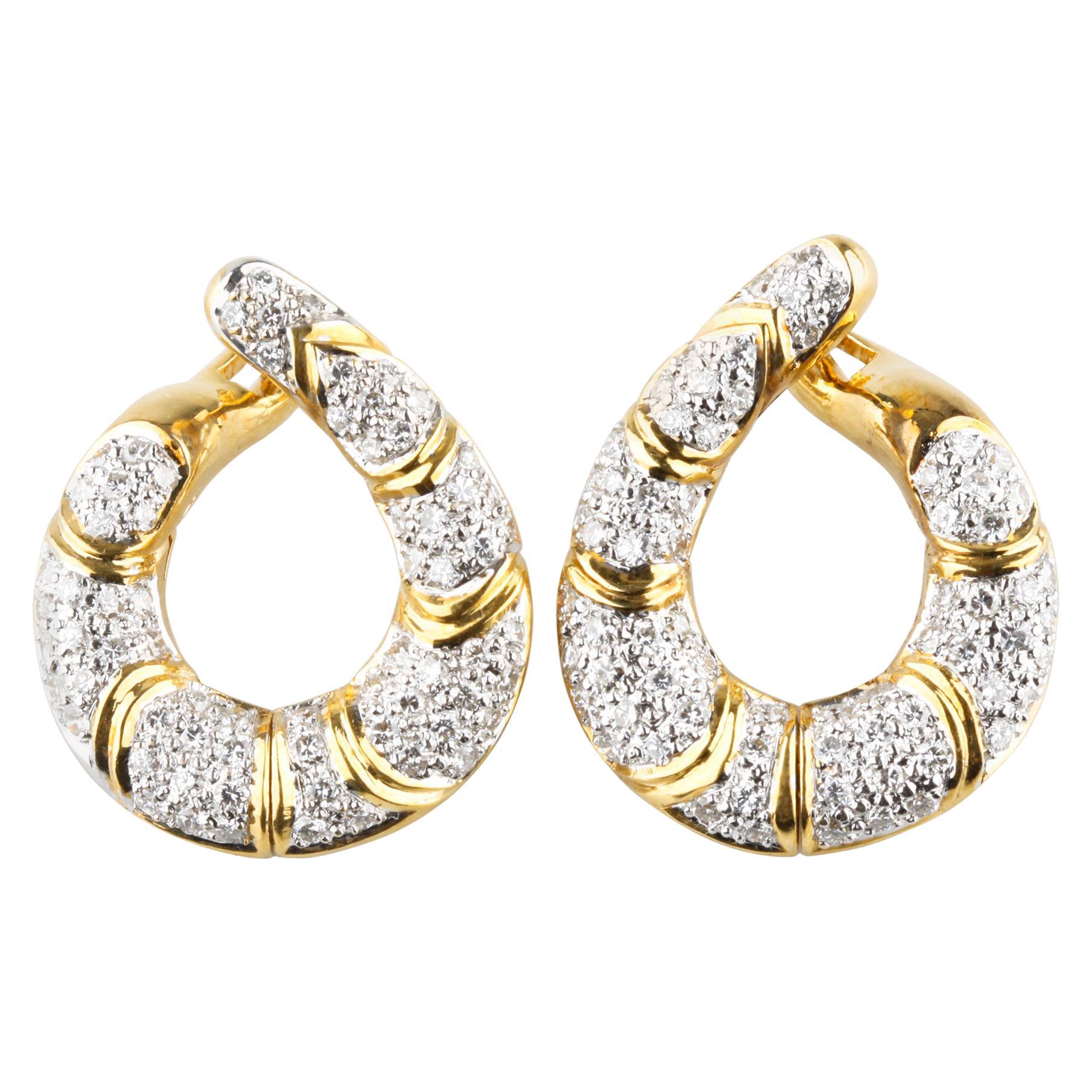 2 Carat Diamond Swoop Hinged Dangling Earrings in Two-Tone Gold