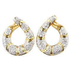 2 Carat Diamond Swoop Hinged Dangling Earrings in Two-Tone Gold