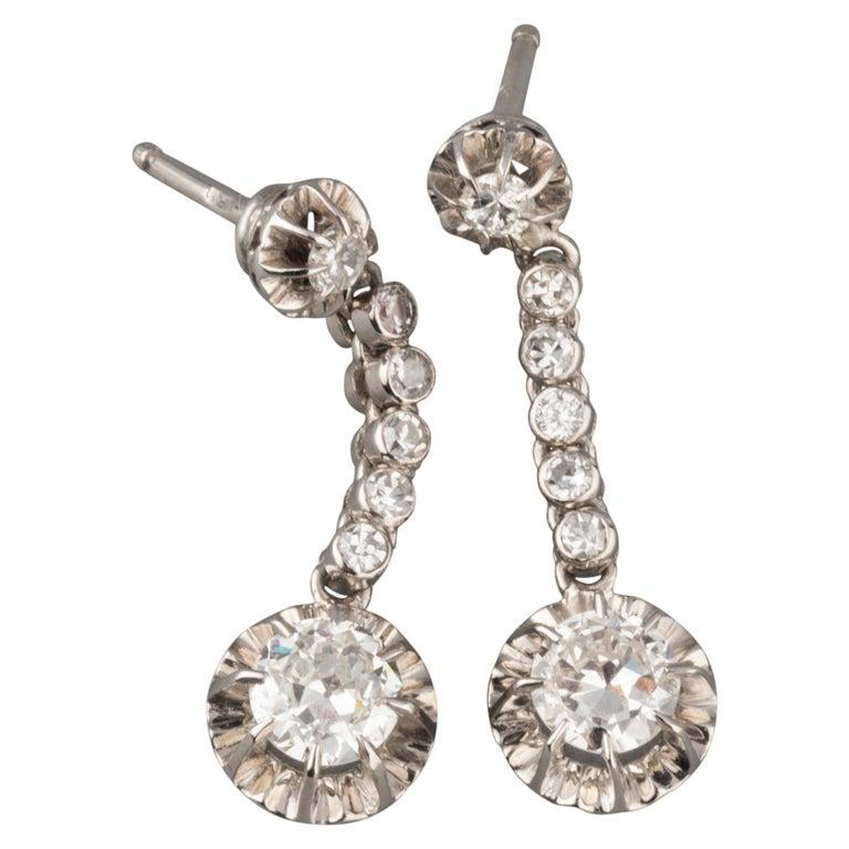 2 Carat Diamonds French Art Deco Earrings For Sale