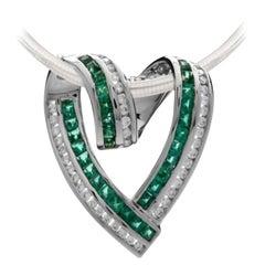 2 Carat Emerald and Diamond Pendant in 18 Karat White Gold