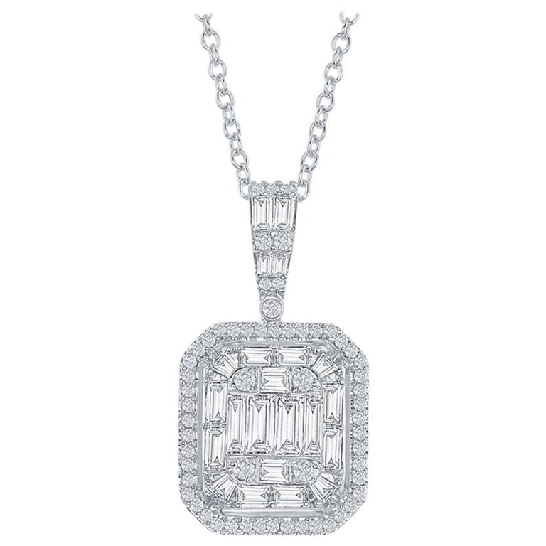 2 Carat Emerald Cut Diamond Pendant For Sale