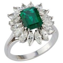 2 Carat Emerald Cut Emerald & Diamond Ring