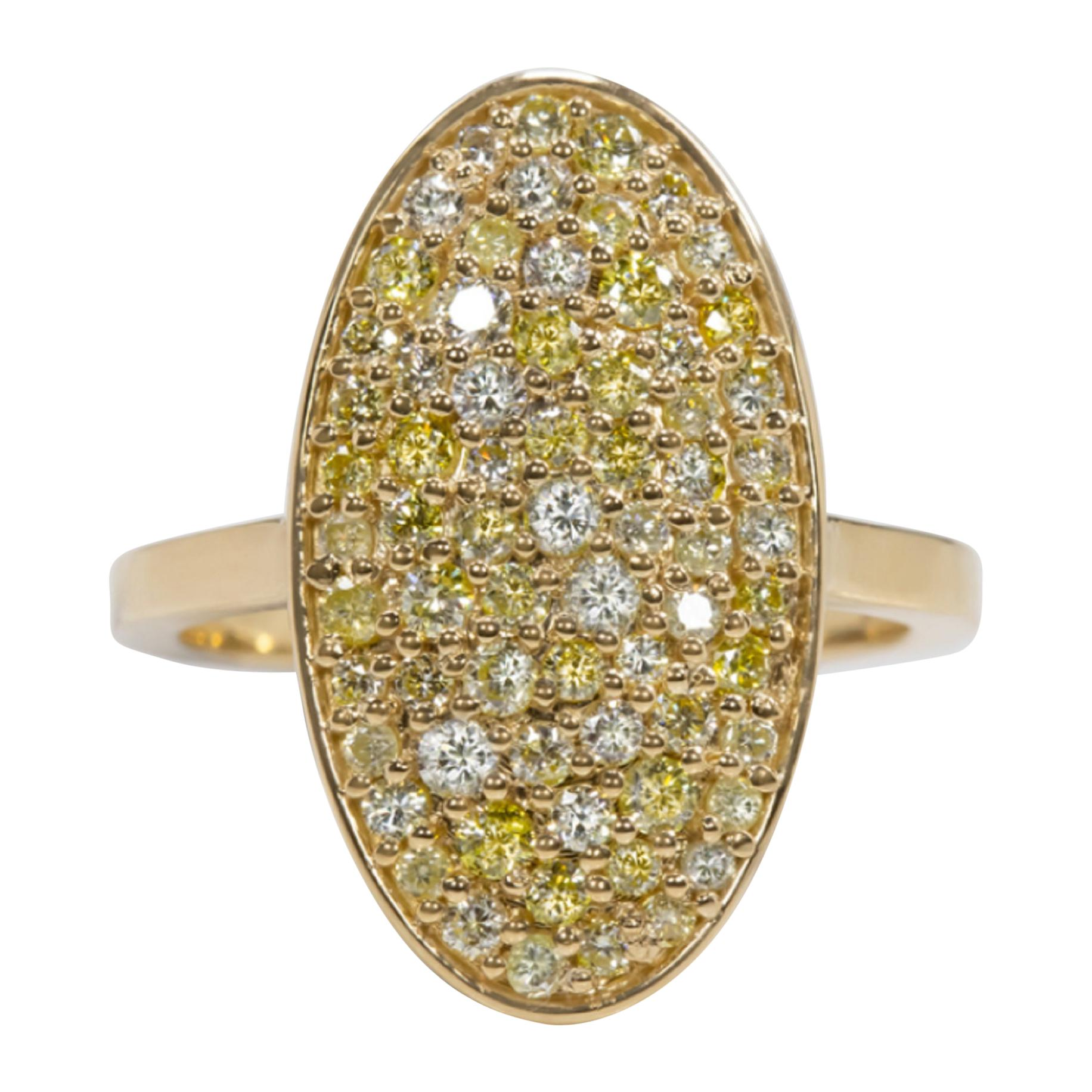 2 Carat Fancy Yellow and White Diamond Gold Cocktail Ring