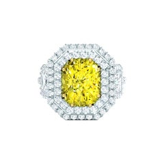 2 Carat Fancy Yellow Canary Cushion Double Halo Diamond Engagement Ring