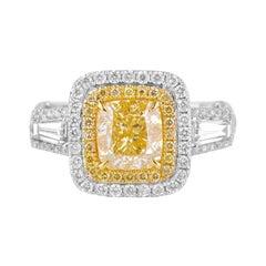 2 Carat Fancy Yellow Diamond Ring 18 Karat White Gold