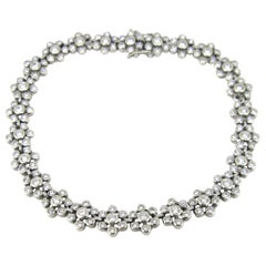 2 Carat Flowers Diamonds White Gold Riviere Bracelet