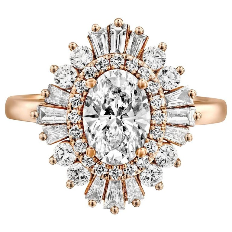 2 Carat Gatsby Ballerina Style 14 Karat White Gold Oval Diamond Engagement Ring For Sale