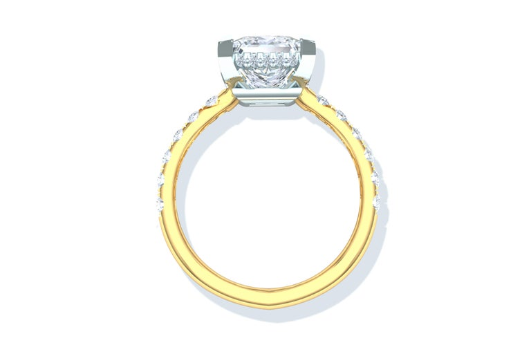 Modern 2 Carat GIA Certified D-SI1 Engagement Ring Platinum and 18 Karat Yellow Gold For Sale