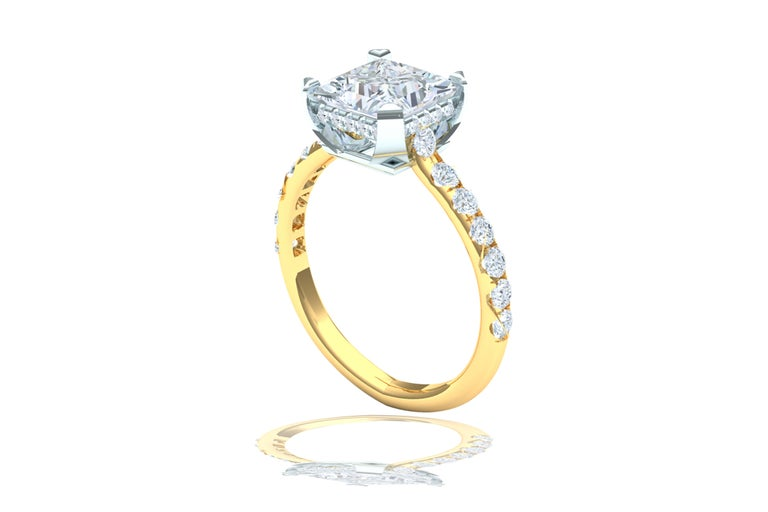 2 Carat GIA Certified D-SI1 Engagement Ring Platinum and 18 Karat Yellow Gold In Excellent Condition For Sale In Aliso Viejo, CA