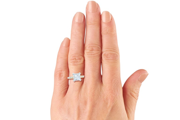 Women's 2 Carat GIA Certified D-SI1 Engagement Ring Platinum and 18 Karat Yellow Gold For Sale