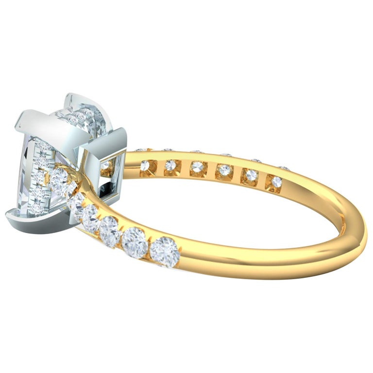 2 Carat GIA Certified D-SI1 Engagement Ring Platinum and 18 Karat Yellow Gold For Sale