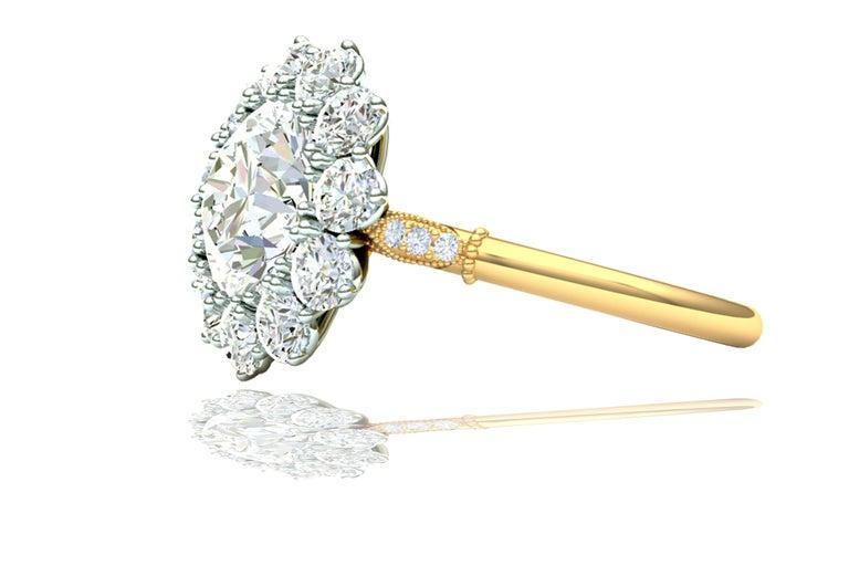 Modern 2 Carat GIA Certified k-vs2 Diamond Ring Platinum and 18 Karat Yellow Gold