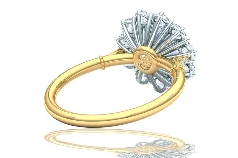 Round Cut 2 Carat GIA Certified k-vs2 Diamond Ring Platinum and 18 Karat Yellow Gold