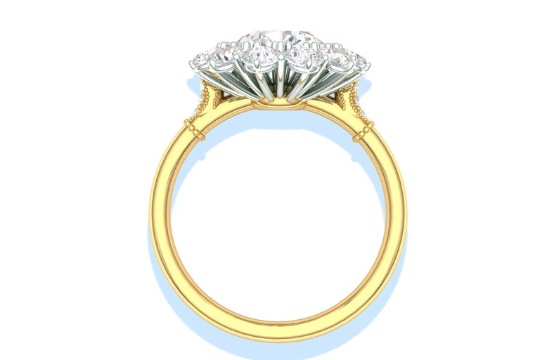2 Carat GIA Certified k-vs2 Diamond Ring Platinum and 18 Karat Yellow Gold In Excellent Condition In Aliso Viejo, CA