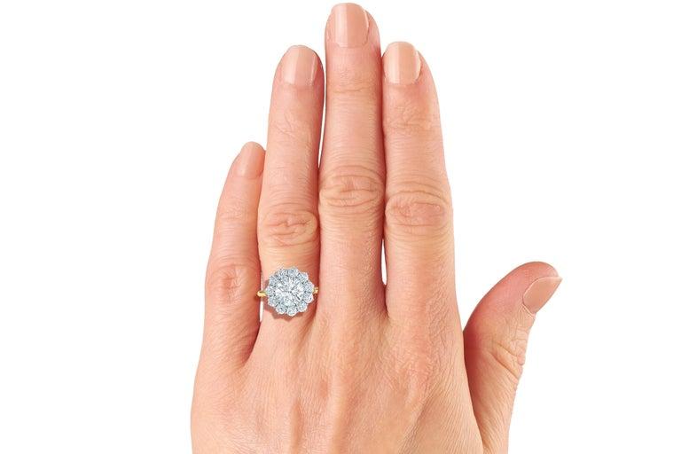 Women's or Men's 2 Carat GIA Certified k-vs2 Diamond Ring Platinum and 18 Karat Yellow Gold