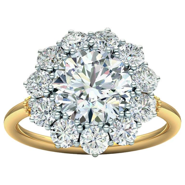 2 Carat GIA Certified k-vs2 Diamond Ring Platinum and 18 Karat Yellow Gold