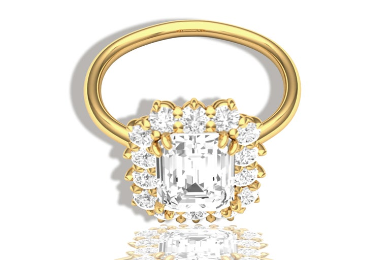 Women's or Men's 2 Carat GIA Certified K-VS2 Emerald Cut Engagement Ring For Sale