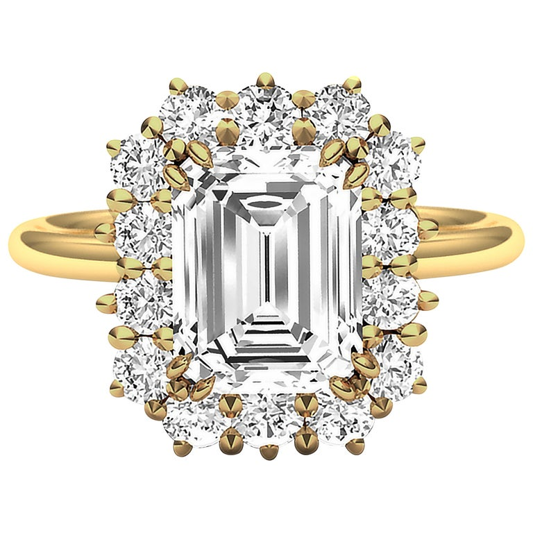 2 Carat GIA Certified K-VS2 Emerald Cut Engagement Ring For Sale