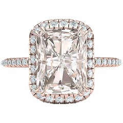 2 Carat GIA Certified L Color SI2 Light Blush Color Diamond Rose Gold Ring