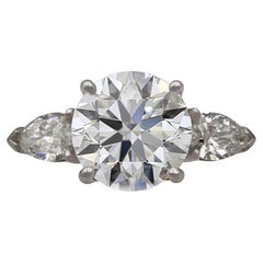 2 Carat GIA Certified Round Cut E VS1 Diamond Engagement White Gold Ring