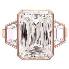 2 Carat GIA K-SI1 Radiant Cut Criss Cut Morganite Rose Gold Diamond Ring