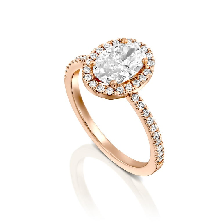 Art Deco 2 Carat GIA Oval Halo Diamond Ring, 18 Karat Rose Gold Oval Cut Engagement Ring For Sale