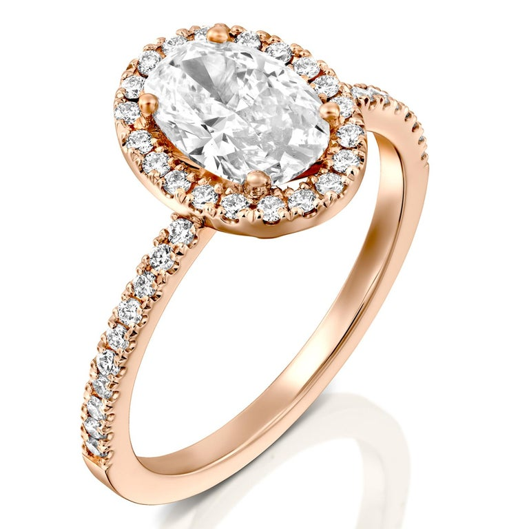 2 Carat GIA Oval Halo Diamond Ring, 18 Karat Rose Gold Oval Cut Engagement Ring In New Condition For Sale In New York, NY
