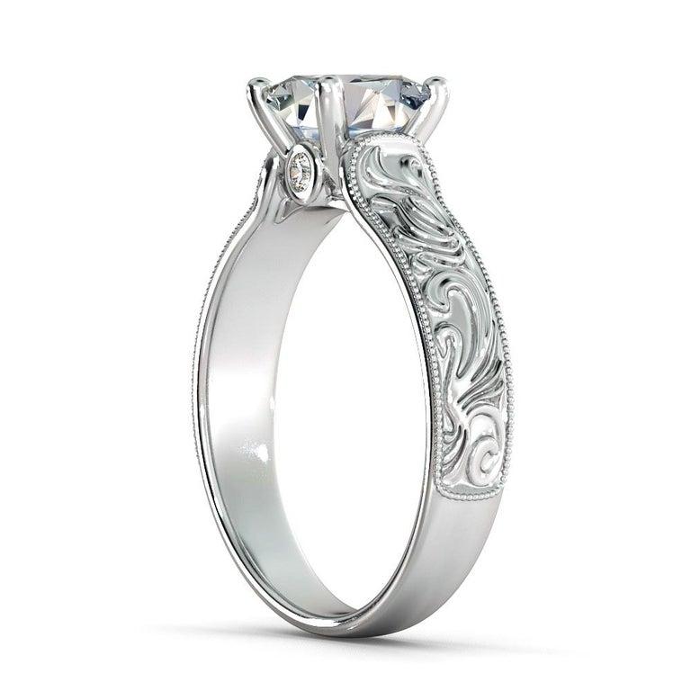 Art Deco 2 Carat GIA Princess Cut Diamond Engagement Ring, Hand Engraved Diamond Ring For Sale