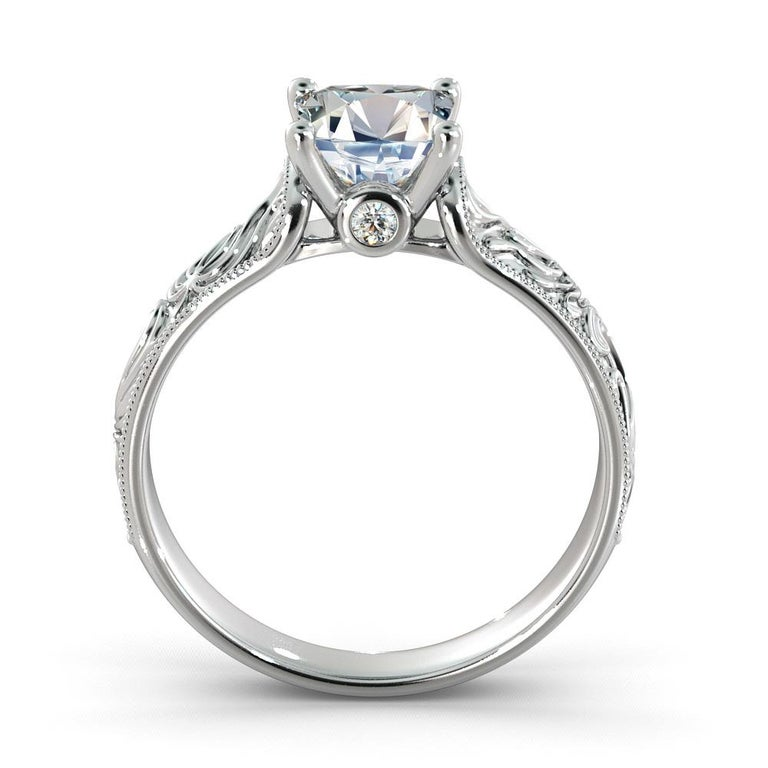 2 Carat GIA Princess Cut Diamond Engagement Ring, Hand Engraved Diamond Ring In New Condition For Sale In New York, NY