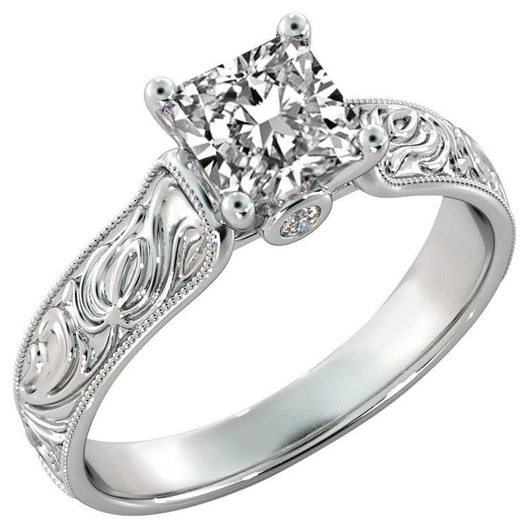 2 Carat GIA Princess Cut Diamond Engagement Ring, Hand Engraved Diamond Ring For Sale