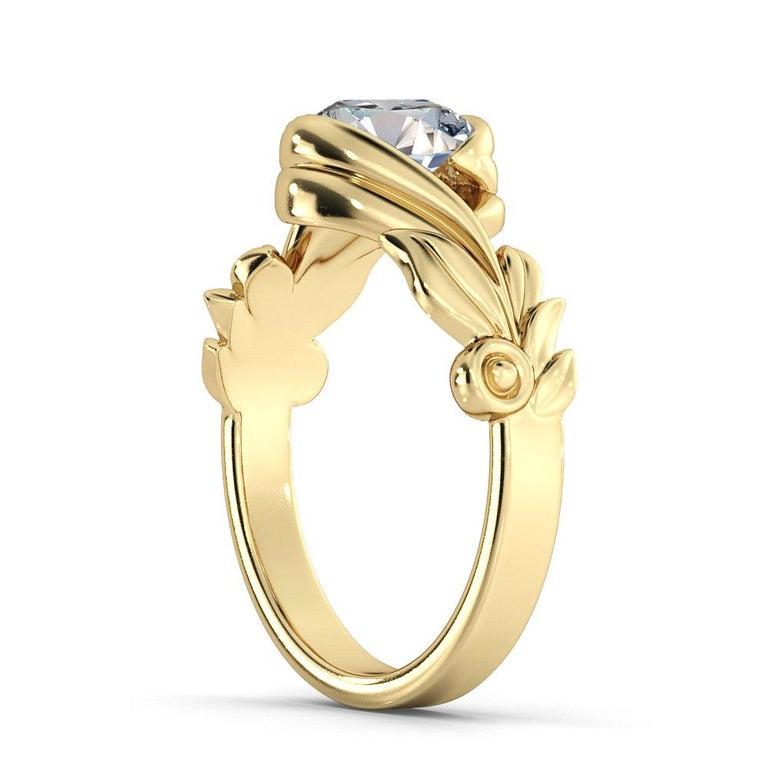 Art Deco 2 Carat GIA Round Cut Diamond Engagement Ring, Vine Leaf Setting Diamond Ring For Sale