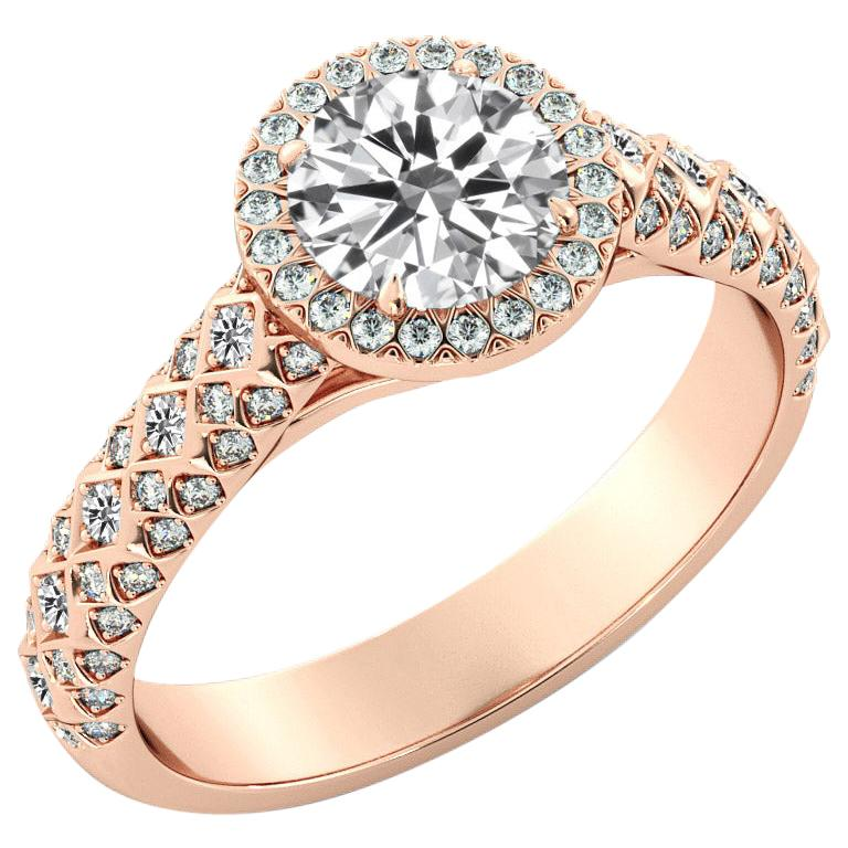 2 Carat GIA Round Diamond Engagement Ring, 18 Karat Rose Gold Vintage Halo Ring